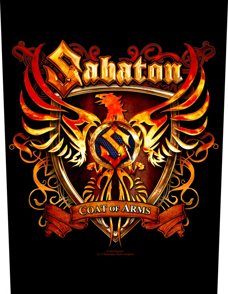 Sabaton Backpatch Coat Of Arms Printed